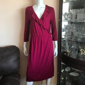 NWT Gap Burgundy Wrap Ruffle Midi Dress Size Large